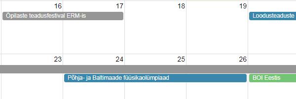 teaduskooli kalender